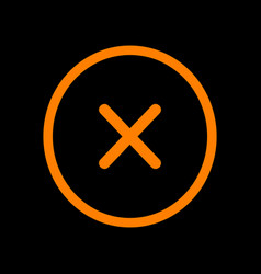 Cross sign  orange icon on black vector