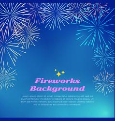 fireworks background colorful top frame on blue vector image