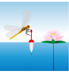 dragonfly sitting on the float water lily water vector image