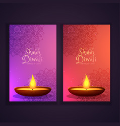 beautiful happy diwali vertical banners with vector image