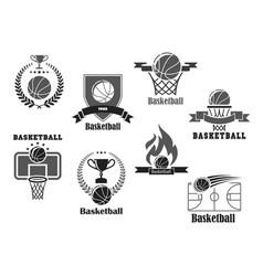 Icons of basketball championship club award vector