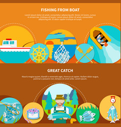 Fishing boat horizontal banners vector