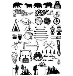 hiking summer camp emblems and design elements vector image