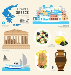 Travel concept greece landmark flat icons design vector