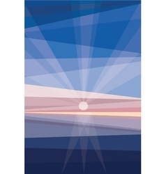 Sunrise on shore geometric abstract vector