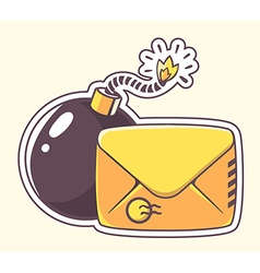 Yellow envelope with bomb on color backgr vector