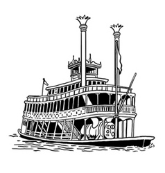 Steamboat lineart vector
