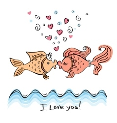 Kiss of two fishes drawing vector image