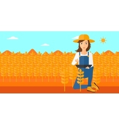 Farmer with tablet computer on field vector
