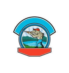 Sea trout hunter shooting circle retro vector
