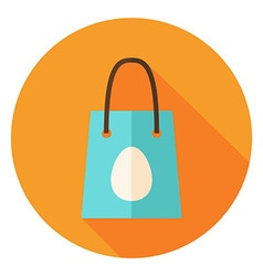 Spring shopping bag with easter egg circle icon vector