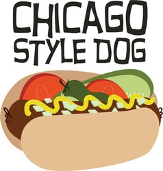 Chicago style dog vector