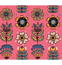 Folk art pattern with flowers vector