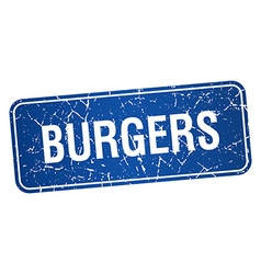 Burgers blue square grunge textured isolated stamp vector
