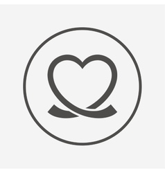Heart ribbon sign icon Love symbol vector image