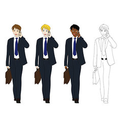 Business Man Talking Phone Holding Brief Case vector image