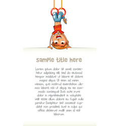 Child holding empty blank poster hung upside down vector