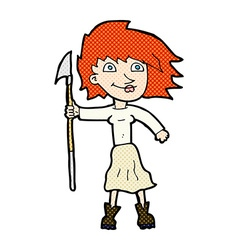Comic cartoon woman with spear vector