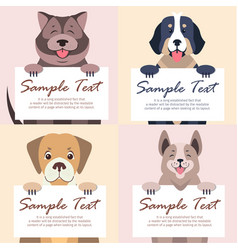 cute dog holding banner with text set vector image