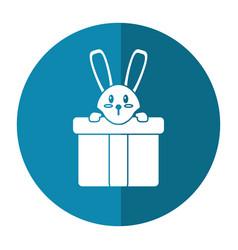 Cute rabbit hiding gift box surprise shadow vector