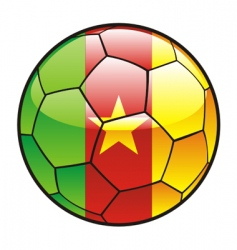 Flag of cameroon on soccer ball vector