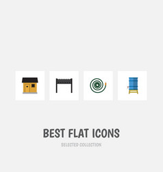 Flat icon garden set of barbecue stabling vector