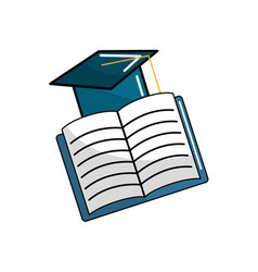 hat graduation with open notebook study vector image vector image