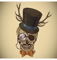 Hipster skull vintage background vector