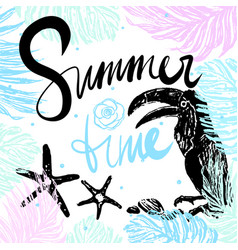 Ink hand drawn summertime tropical card vector