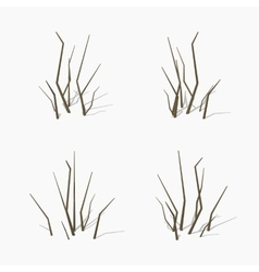 Low poly dried branches vector