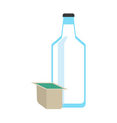 milk bottle and box icon image vector image vector image