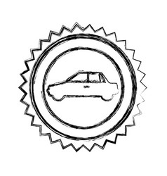 Monochrome sketch of circular seal with automobile vector
