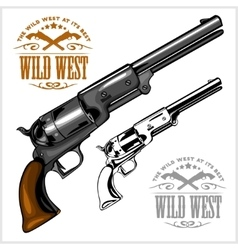 Old american colt revolver with emblem wild west vector
