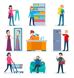 People in shop set vector