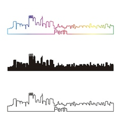 Perth skyline linear style with rainbow vector