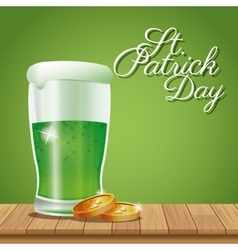 Poster st patrick day glass beer coins on wooden vector