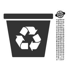 Recycle bin icon with men bonus vector