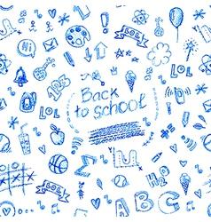 seamless doodle school pattern vector image vector image