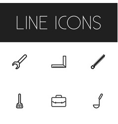 Set of 6 editable equipment icons includes vector