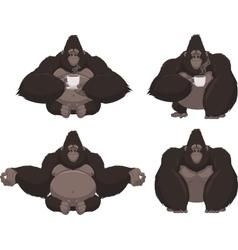 Set of funny gorilla vector