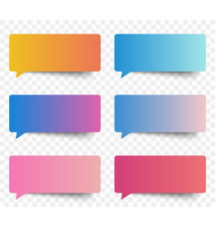 set of gradient color speech and thought sticker vector image vector image