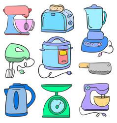 Set of kitchen accessories doodles vector