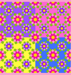 set of seamless patterns of red purple blue vector image