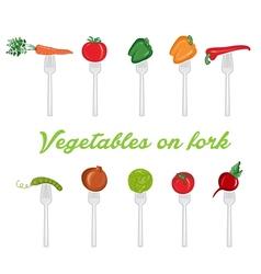 set of vegetables on fork vector image