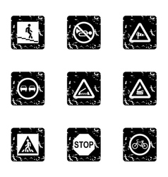 Sign icons set grunge style vector image