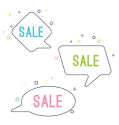 Simple sale speech bubbles with geometric signs vector
