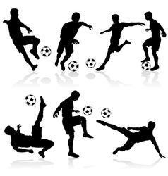 soccer silhouette set vector image vector image