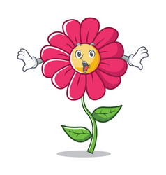 surprised pink flower character cartoon vector image
