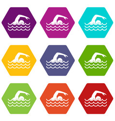 swimmer icon set color hexahedron vector image