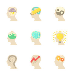 thoughts inside man head icons set cartoon style vector image vector image